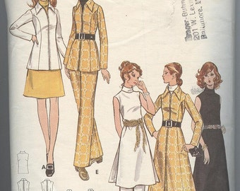 1960s Dress Pattern Butterick 6110  Suit Pants Skirt  Blouse Vintage Womens Sewing Patterns Size 10