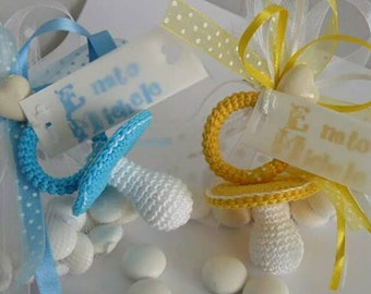 Crochet pacifiers, bow template or type wedding favors