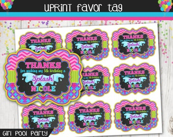 Girl Pool Party Favor Tag - Thank You Tag - Pool Party - Birthday - Personalized - Printable
