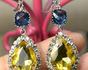 Navy blue yellow -Bridesmaid jewelry sapphire blue  Drop Earrings Wedding Bridal Wedding Dangle Earrings Bridal Jewelry  Bridesmaid Gift
