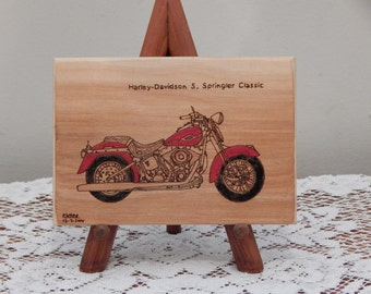 Harley-Davidson S. Springler Classic Motorcycle Woodburned Wood Ornament / Plaque