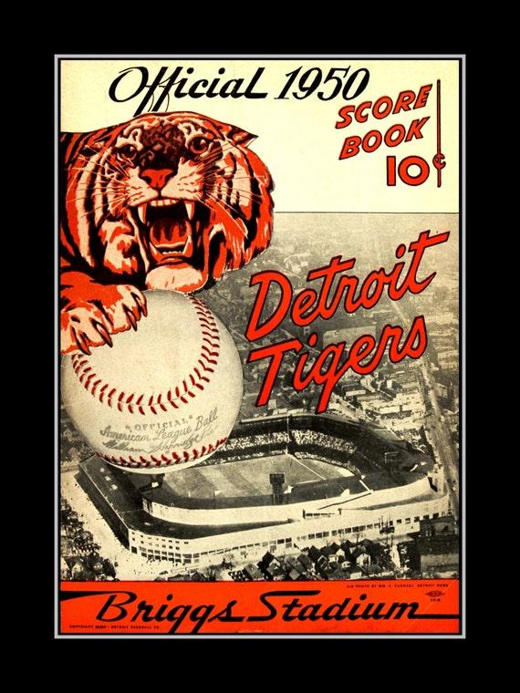 Detroit Tigers Baseball Poster Vintage 1950 Mototr City Wall