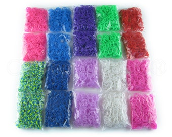 5000 Piece Loom Bands Mega Refill Pack - 10 Colors - Latex-Free - Compatible With All Loom Brands - 5000 Rainbow Colored Bands - USA