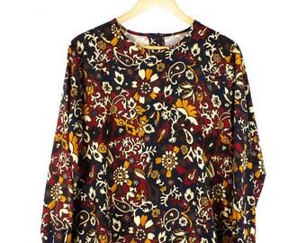 Vintage 90s Floral Top, Silk, Long Sleeve, Button Back, Print, Blue, Mustard, Burgundy