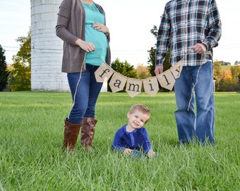 Family burlap banner, fall decoration, photo prop, holiday decoration