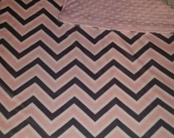 Sale***Pink/Gray/white Chevron stripe minky with Pink minky dot baby blanket