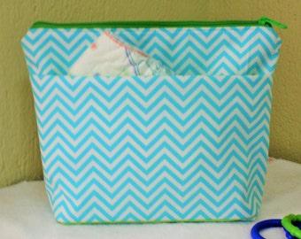 Chevron Diaper clutch, wet bag// baby boy