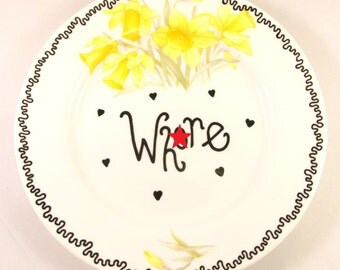 Wh*re Vintage Floral Decorative Side Plate Mature Adult Humor Daffodils Yellow Funny Gift Rude Ring Holder Trinket Dish Floral Ironic Hearts