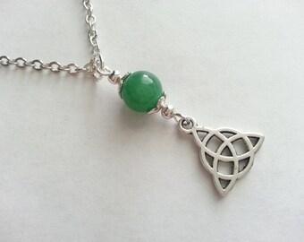Natural Aventurine Triquetra Celtic Knot Necklace