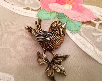 Signed ART two tone Bird Brooch