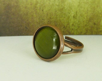 Ring adjustable copper cateye green olive