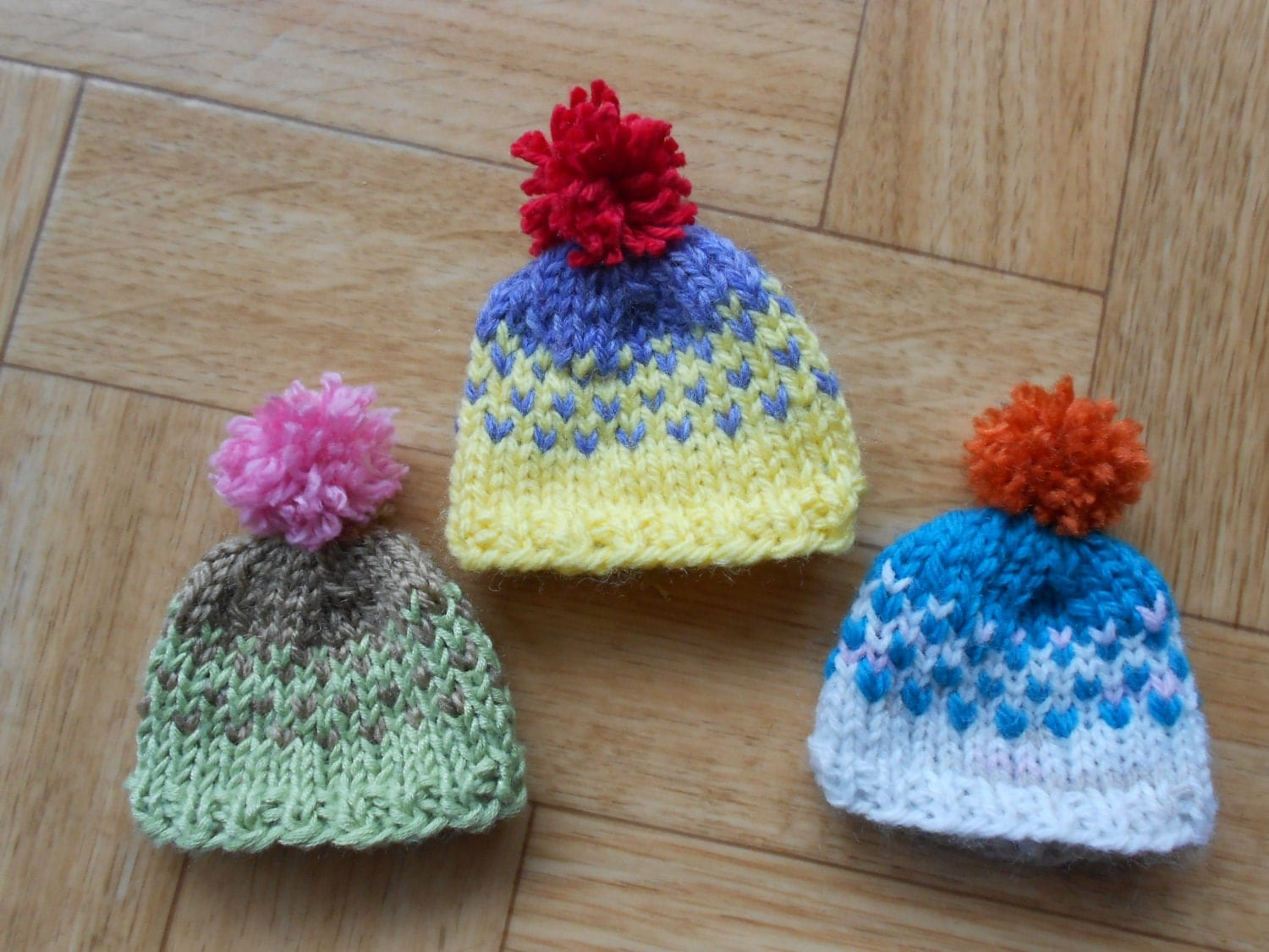 Knit mini hat ornaments Set of 3 small by CuteCreationsByLea