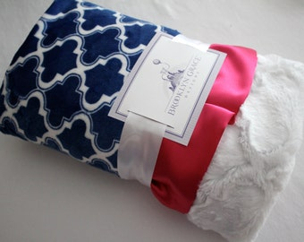 Moroccan Tile In Cobalt Blue with Plush Lattice Minky on Reverse with Hot Pink Satin, Baby Boy or Girl, Textired Minky, Nursery