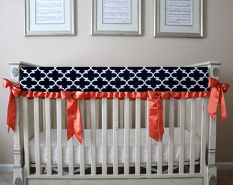 Navy and White Lattice with White Embossed Vine Reversible Rail Guard Cover with Orange Satin Ties - Crib Bedding, Minky, Bumperless