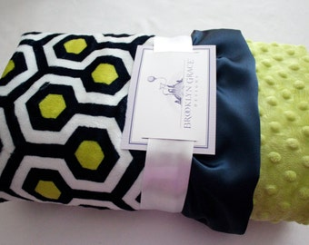 Premier Prints Dolce Vita Minky Cuddle Favo - Geometric in Navy and Apple Green, Crib Bedding, Baby Boy or Girl, Nursery