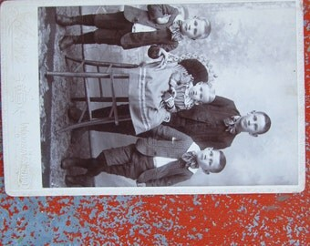 Antique Cabinet Card - Sweet Family with Big Ears Portrait  - Victorian Toddler Portrait