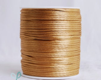 2mm x 100 yards Rattail Satin Nylon Trim Cord Chinese Knot - Old Gold