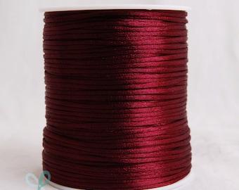 2mm x 100 yards Rattail Satin Nylon Trim Cord Chinese Knot - Wine
