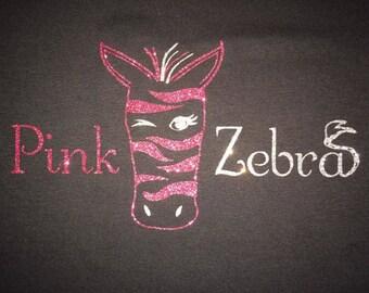 Women's Pink Zebra Glitter Shirt
