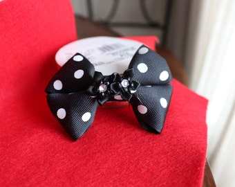 Black Polka Dotted Bow