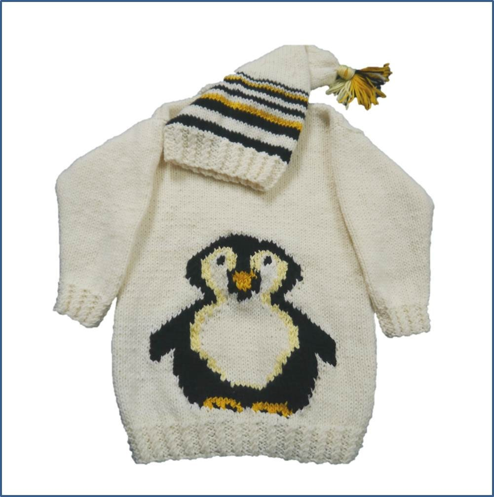 Childs Aran Jumper Knitting Pattern : Penguin Childs Sweater and Hat Aran Knitting Pattern, Penguin Sweater an...
