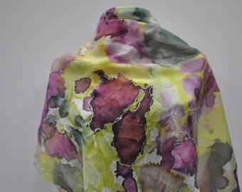 Vintage HANDMADE silk scarf , hand died , hand rolled ....(776)
