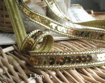 Wholesale lot  10yds golden sequin Lace trim diy sewing 1.3cm