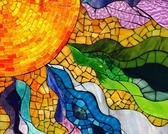 Stained glass window mosaic sun, Fire Within, glass on glass mosaic, window hanging, fine art, wall art, framed, vibrant color, mosaic art