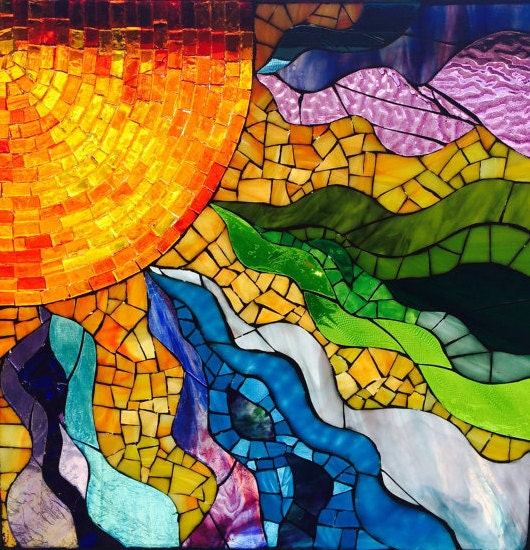 Stained Glass Window Mosaic Sun Fire Within Glass On Glass