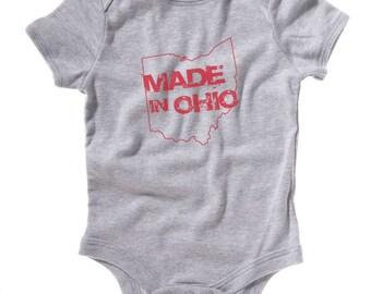 Gray Made In Ohio Onesie Baby Creeper