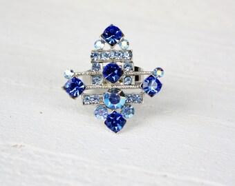 Vintage Blue Crystal Adjustable Ring