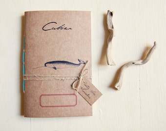 Sea animal notebook narwhal, wild journal, vegan travel diary