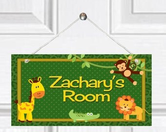 Personalized Child's Door Sign - Jungle Theme