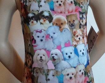 """Puppy Leotard, Girls Sizes 2 to 12 -  """"Puppy Love"""" Printed Spandex Leotard for Gymnastics and Dance"""