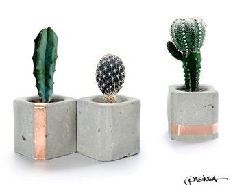 Geometric Concrete Copper Cups, Set of 3 Small Cube Concrete Air Plant Holder, modern concrete decor, organizer, candle holder