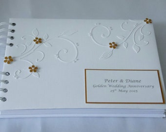 Golden  Wedding Anniversary Guest Book,,Personalised,A5, With Flowers And Flourishes ,Boxed