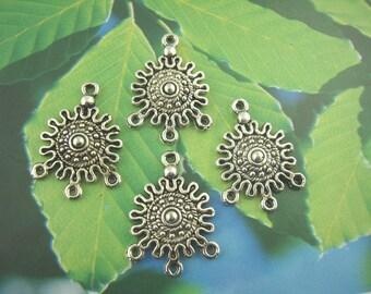 4 Antiqued Silver Sun Chandeliers/Connectors