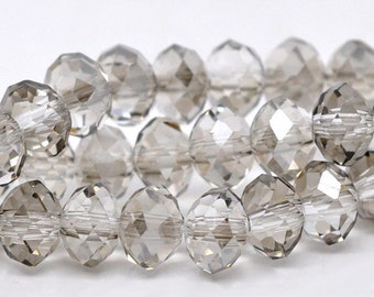 French Gray Crystal Rondells - 8x6MM
