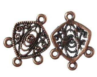 8 Antiqued Copper Hollow Filligree Connectors