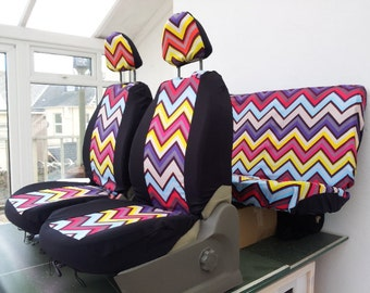 Set of car seat covers; front and rear covers: chevron design fabric, protective car cover, english print. With 4 x head rest covers. candy