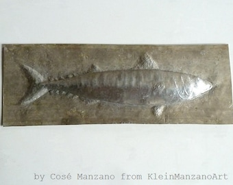 Metal sculpture, Wall, Mackerel, Aluminum relief, Fish tile, Animal sculpture, Metal wall sculpture, Metal art, Bathroom art, Fish decor