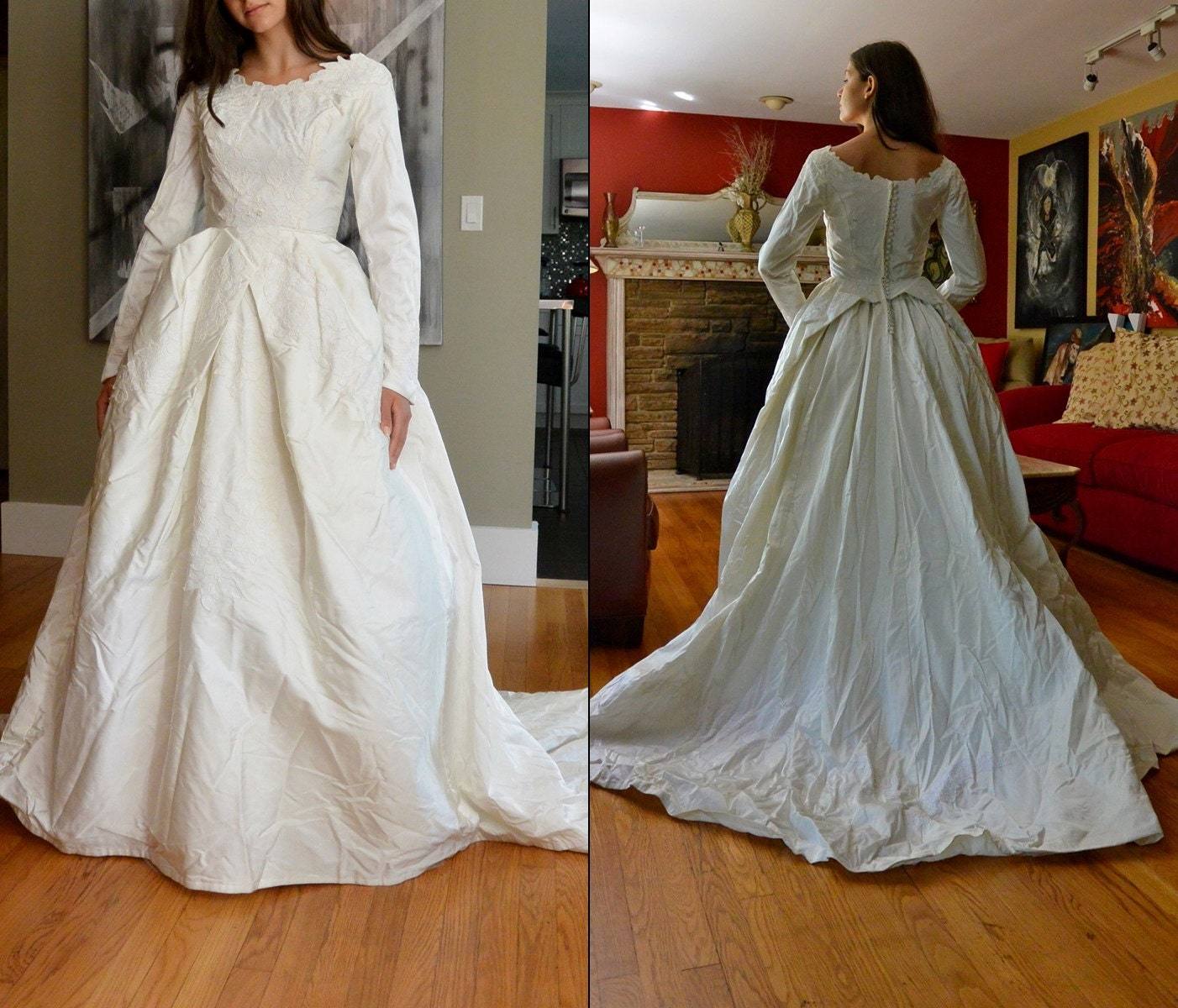 Vintage Wedding Dresses 1960s: Vintage 60s Wedding Dress / 1960s White Bridal Gown Full Skirt