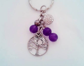 Purple Owl Pieces Keyring