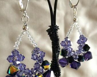 Tri-Color Swarovski Crystal Woven Teardrop Earrings