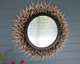 "26 inch ""Porcupine Quill"" Mirror: Ivory Tip"