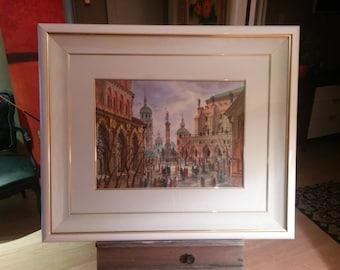 "Original Anton Krasnyansky signed watercolor titled ""Streets of Rome"""