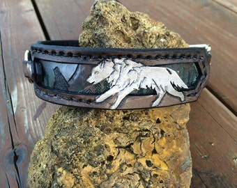 Wolves at Play Hand Tooled Leather Dog Collar