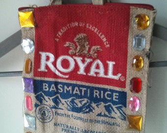 Altered Basmati rice bag with plastic jewels application