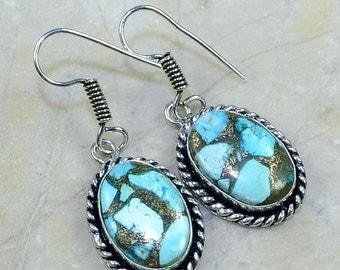 BEAUTIFUL>>> Blue Copper Turquoise, Gemstone Silver Earrings