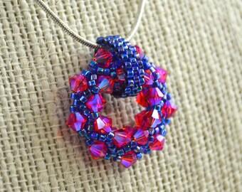 Swarovski Crystal Circle Necklace Fuchsia